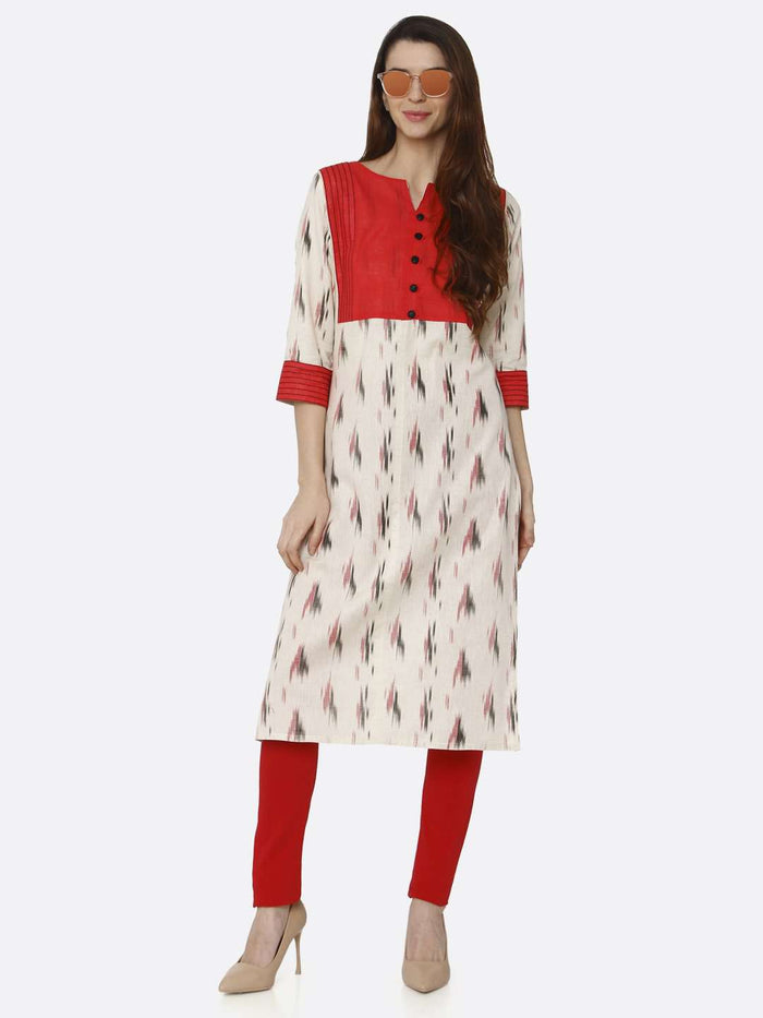 Red & Off White Printed Cotton Straight Kurti