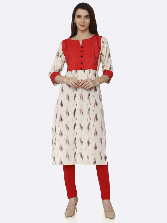 Front Side Red & Off White Printed Cotton Straight Kurti With Red Palazzo Pant