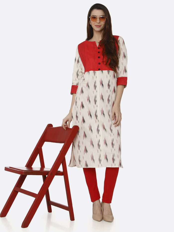 Casual Red & Off White Printed Cotton Straight Kurti With Red Palazzo Pant