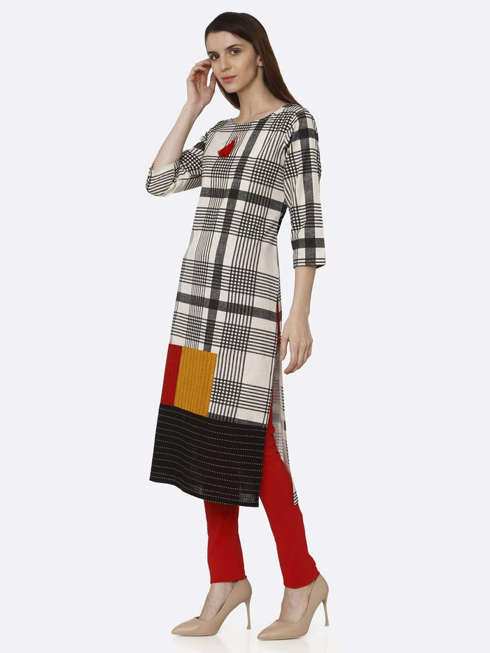Left Side Black Printed Cotton Straight Kurti With Red Palazzo Pant