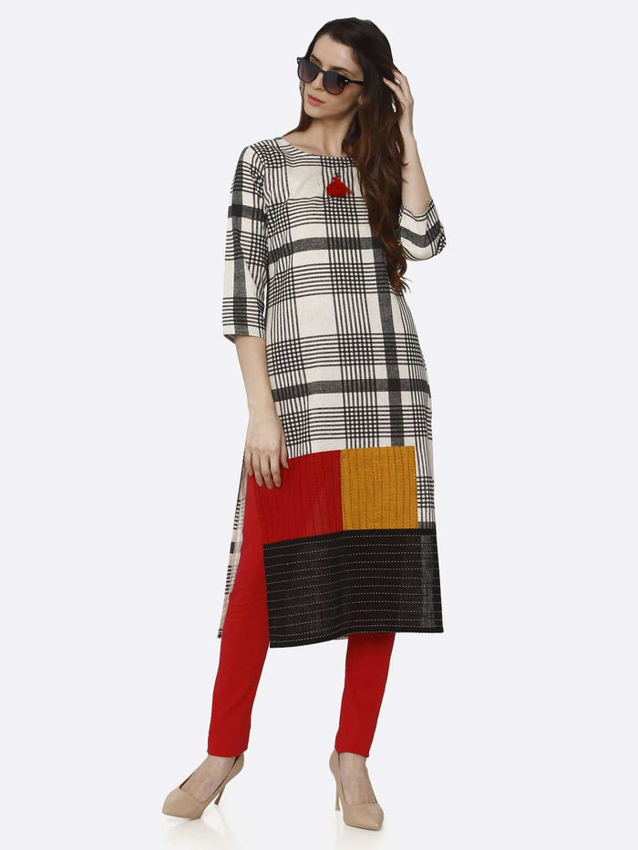 Casual Black Printed Cotton Straight Kurti With Red Palazzo Pant