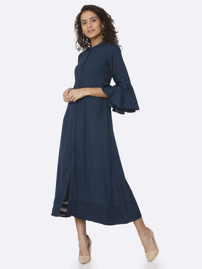 Navy Blue Solid Rayon A-Line Dress