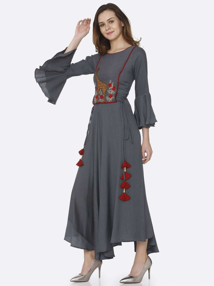 Left Side Grey Embroidered Rayon Long Dress