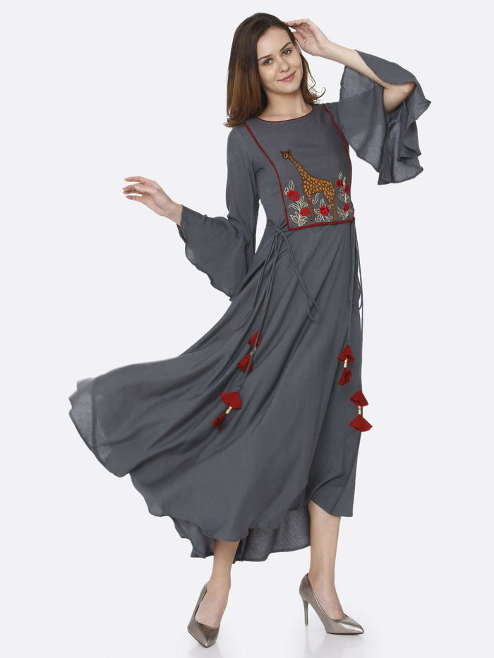 Front Side Embroidered Rayon Long Dress With Grey Color