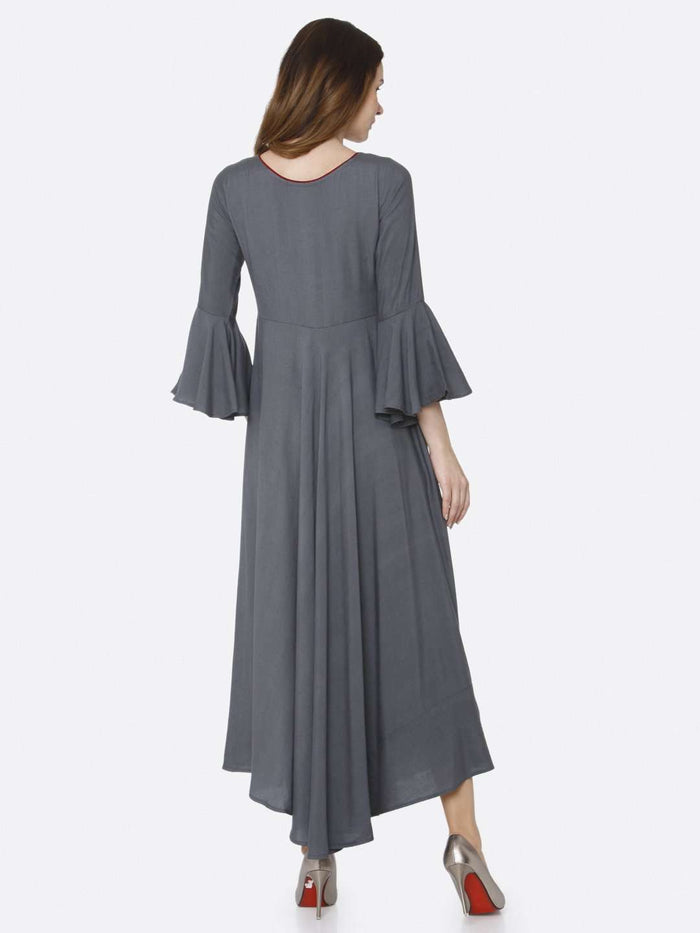 Back Side Grey Embroidered Rayon Long Dress