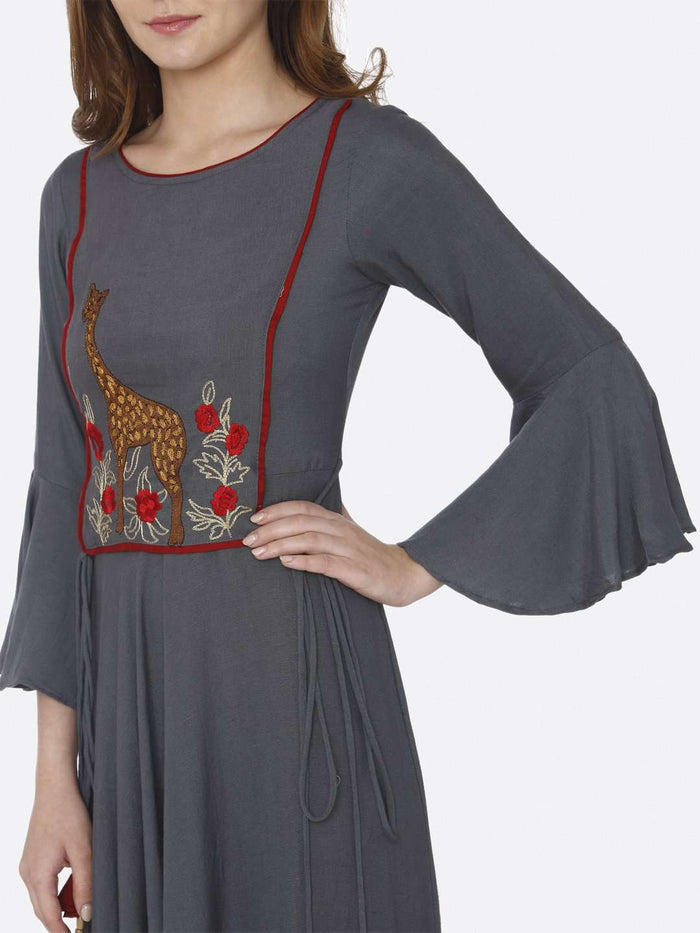 Left Side Embroidered Rayon Long Dress With Grey Color