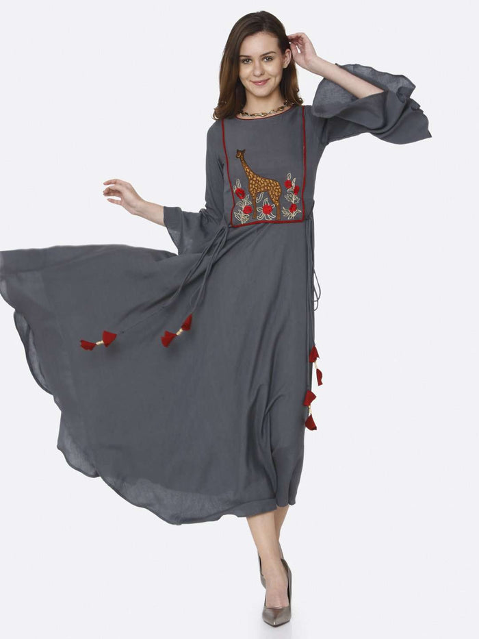 Casual Grey Embroidered Rayon Long Dress