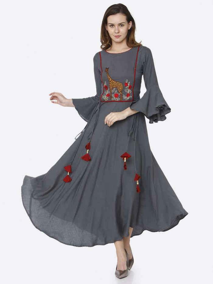 Front Side Grey Embroidered Rayon Long Dress