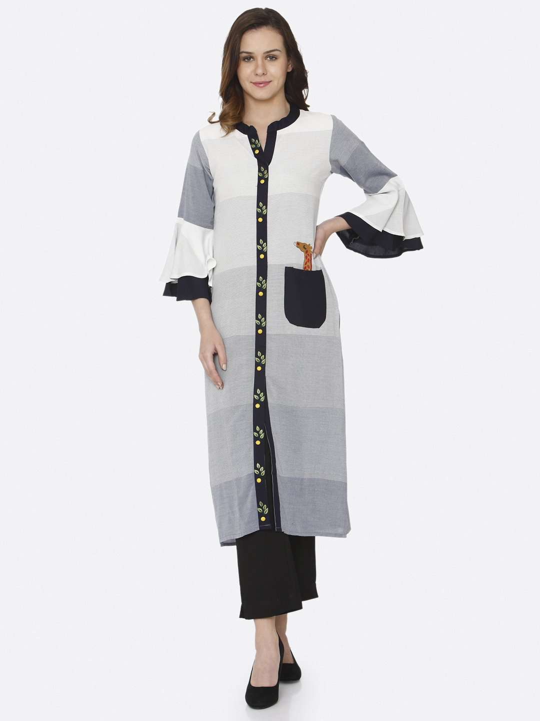 Front Side Blue Printed And Embroidered Rayon Straight Kurti With Black Palazzo Pant