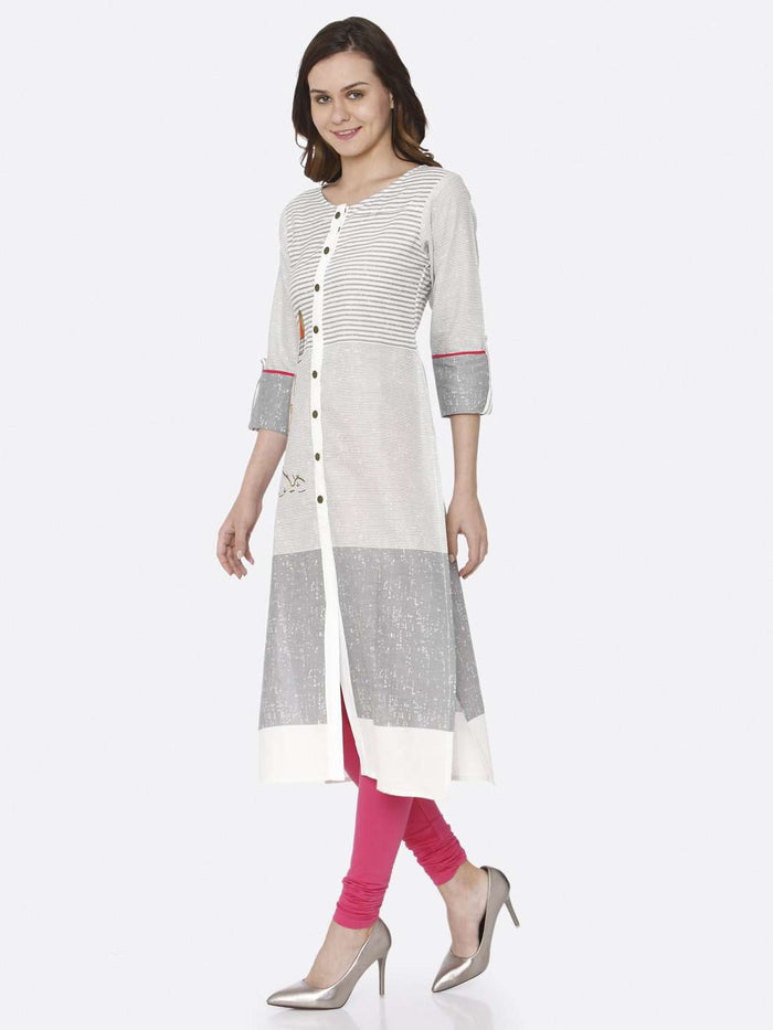Right Side White Printed Cotton Straight Kurti With Pink Palazzo Pant