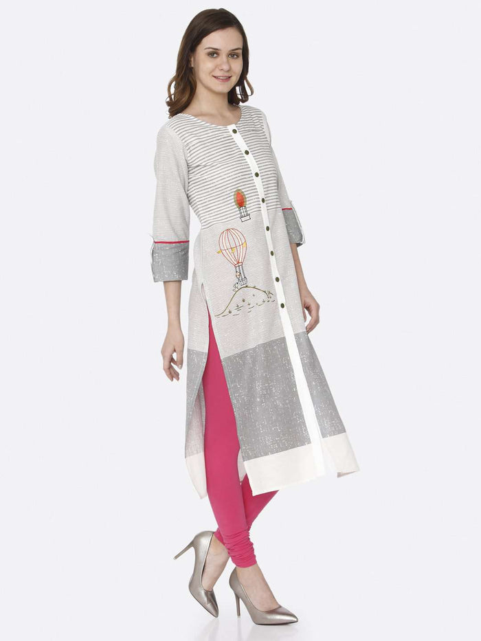 Right Side Printed Cotton Straight Kurti With Pink Color