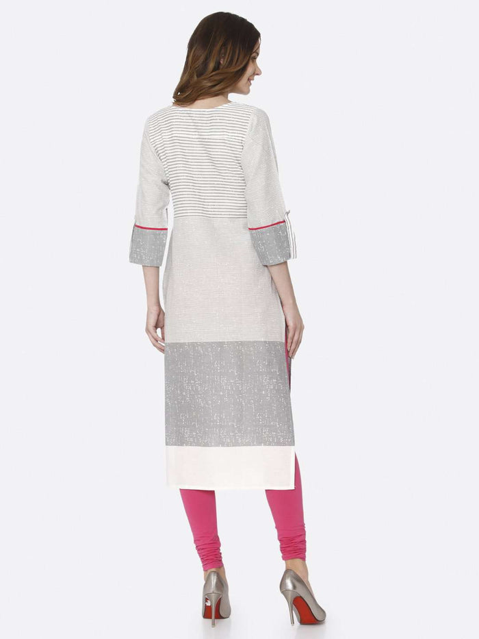 Back Side White Printed Cotton Straight Kurti With Pink Palazzo Pant