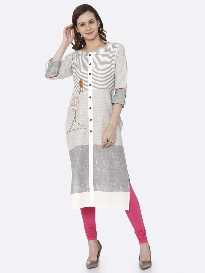 Front Side White Printed Cotton Straight Kurti With Pink Palazzo Pant