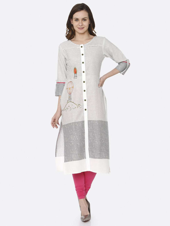 Front Side White Printed Cotton Straight Kurti