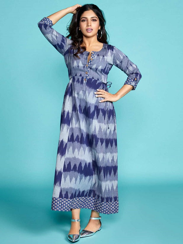 Blue Ikkat Printed Cotton Dress