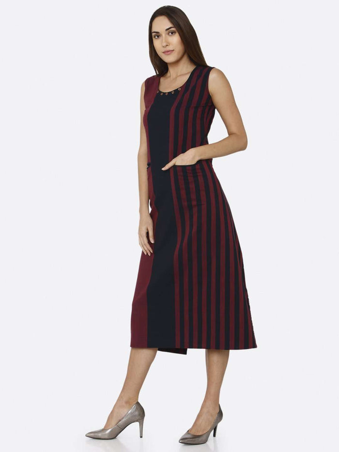 Left Side Navy Blue & Pink Printed Cotton A-Line Dress