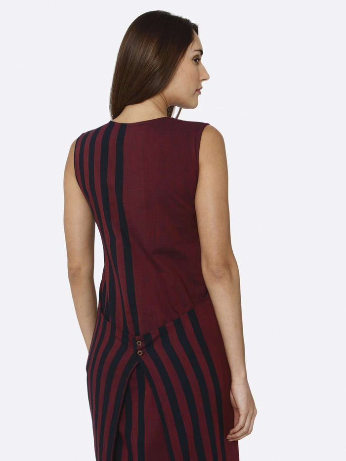 Back Side Navy Blue & Pink Printed Cotton A-Line Dress