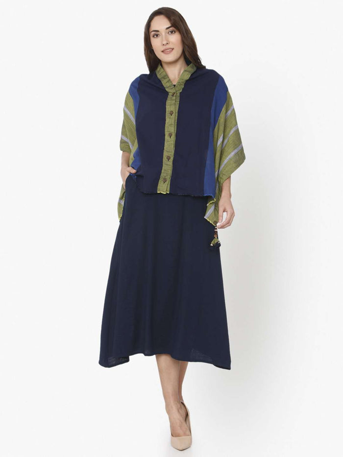 Navy Blue Solid Cotton A-Line Dress With Jacket
