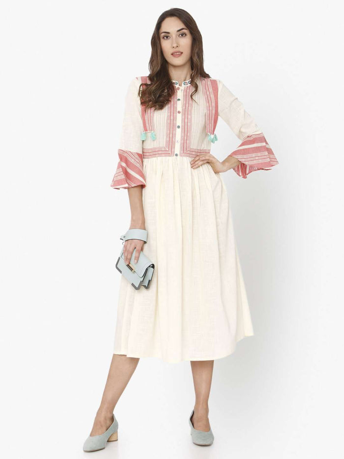 Casual Off White Solid Cotton A-Line Dress