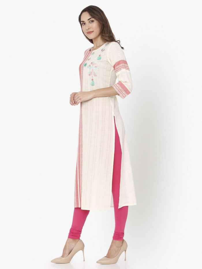 Left Side Off White & Pink Embroidered Cotton Straight Kurti With Pink Palazzo Pant