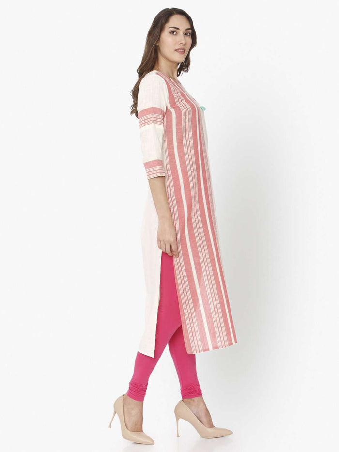 Right Side Off White & Pink Embroidered Cotton Straight Kurti With Pink Palazzo Pant