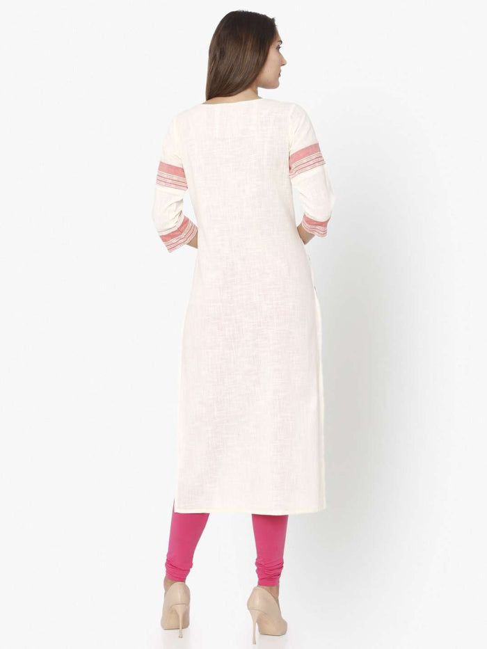 Back Side Off White & Pink Embroidered Cotton Straight Kurti With Pink Palazzo Pant