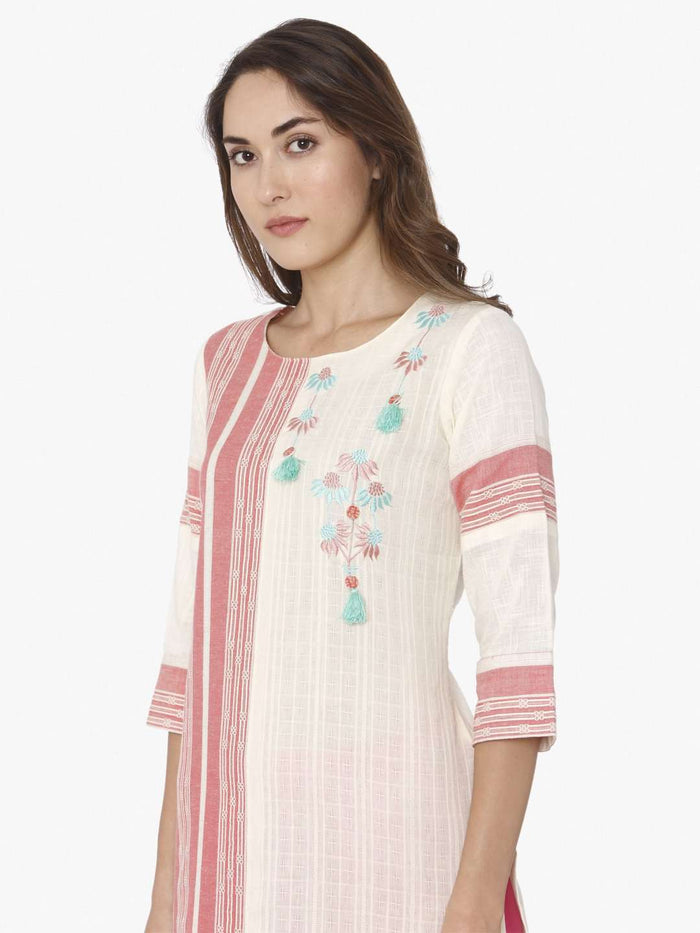 Left Side Off White & Pink Embroidered Cotton Straight Kurti