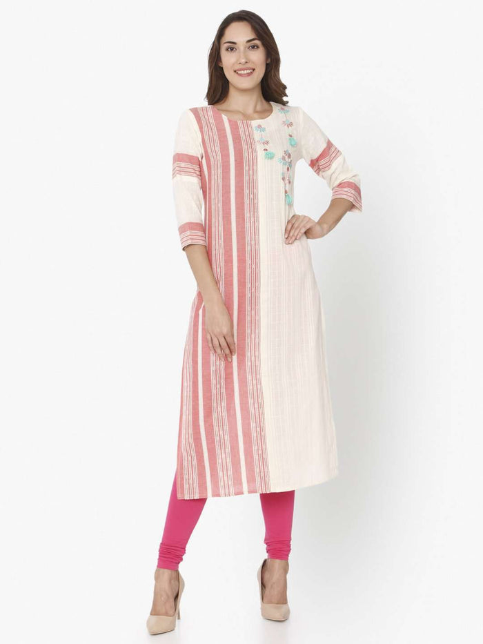 Front Side Off White & Pink Embroidered Cotton Straight Kurti With Pink Palazzo Pant