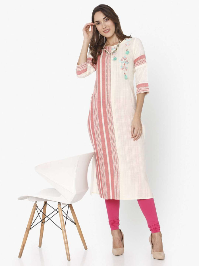 Off White & Pink Embroidered Cotton Straight Kurti
