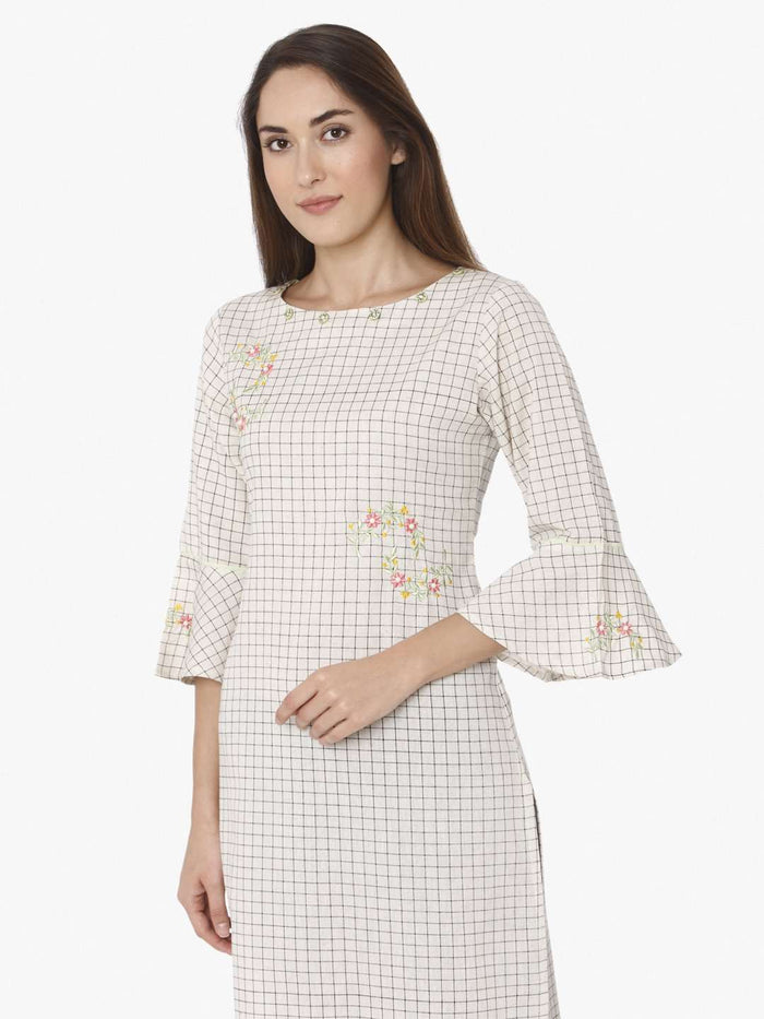 Off White Embroidered Cotton Straight Kurti