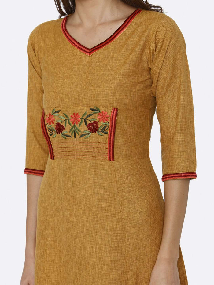 Front Side Embroidered Liquid Georgette A-Line Dress With Mustard Color