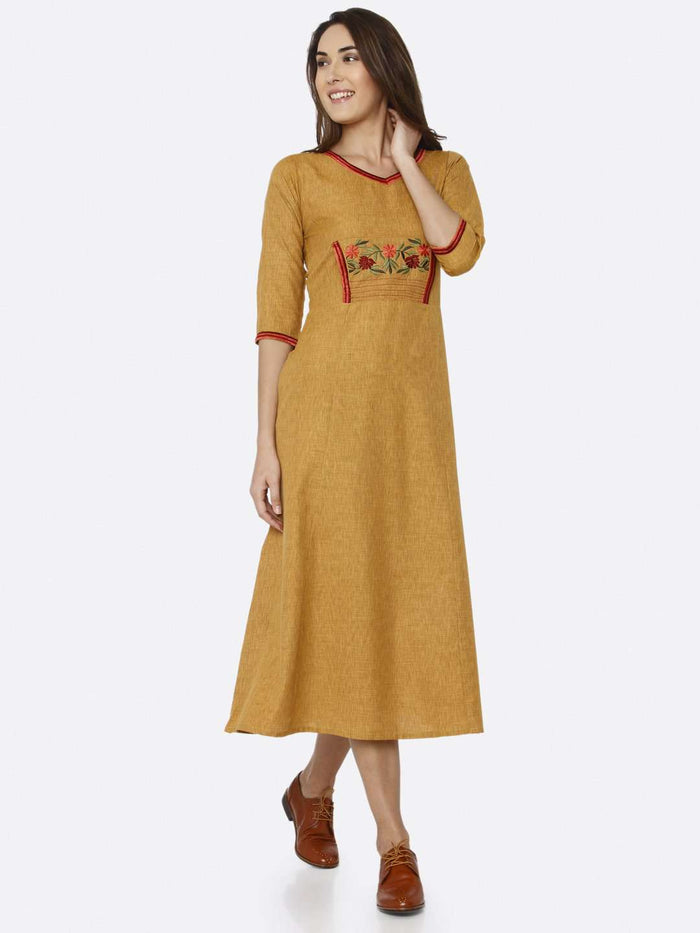 Front Side Mustard Embroidered Liquid Georgette A-Line Dress