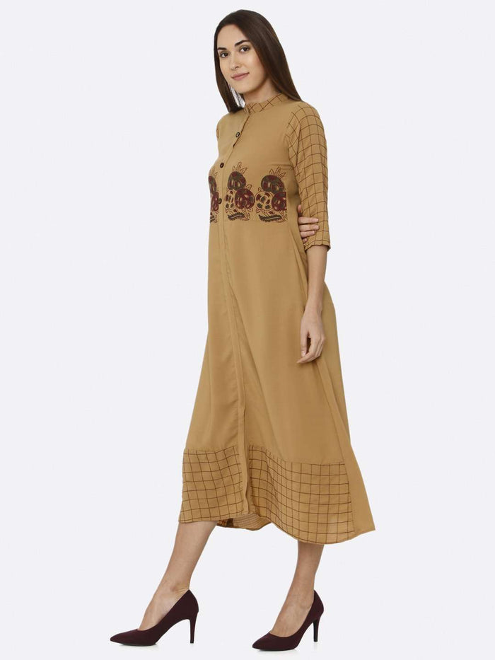 Left Side Mustard Embroidered Liquid Georgette A-Line Dress