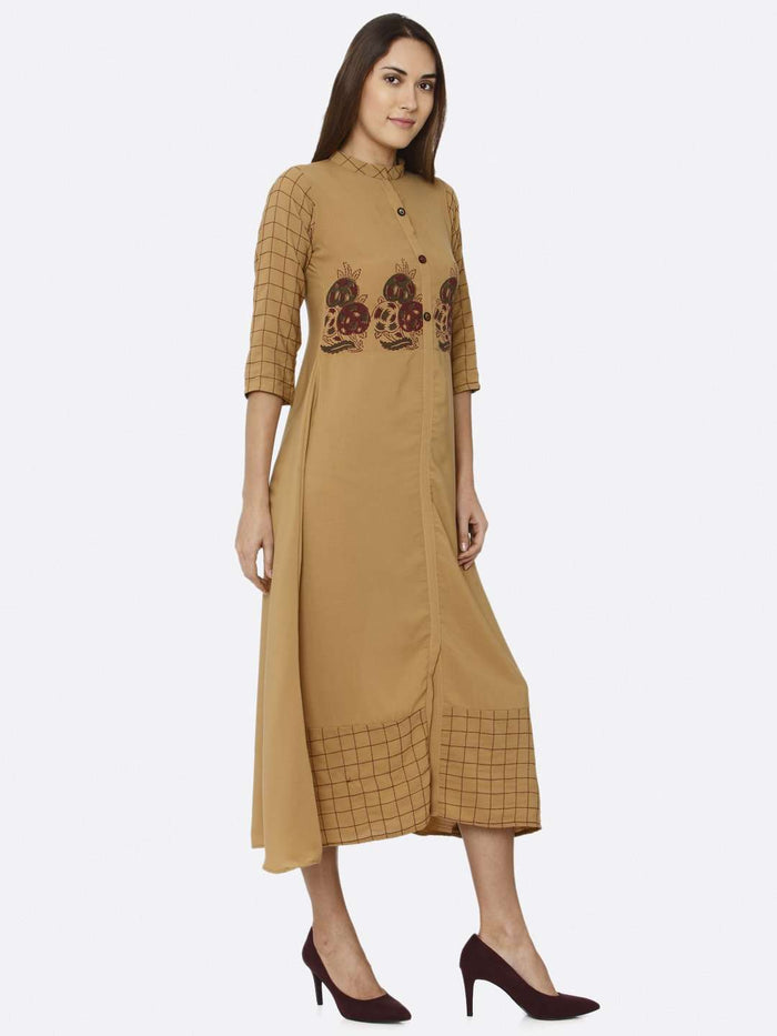 Right Side Mustard Embroidered Liquid Georgette A-Line Dress