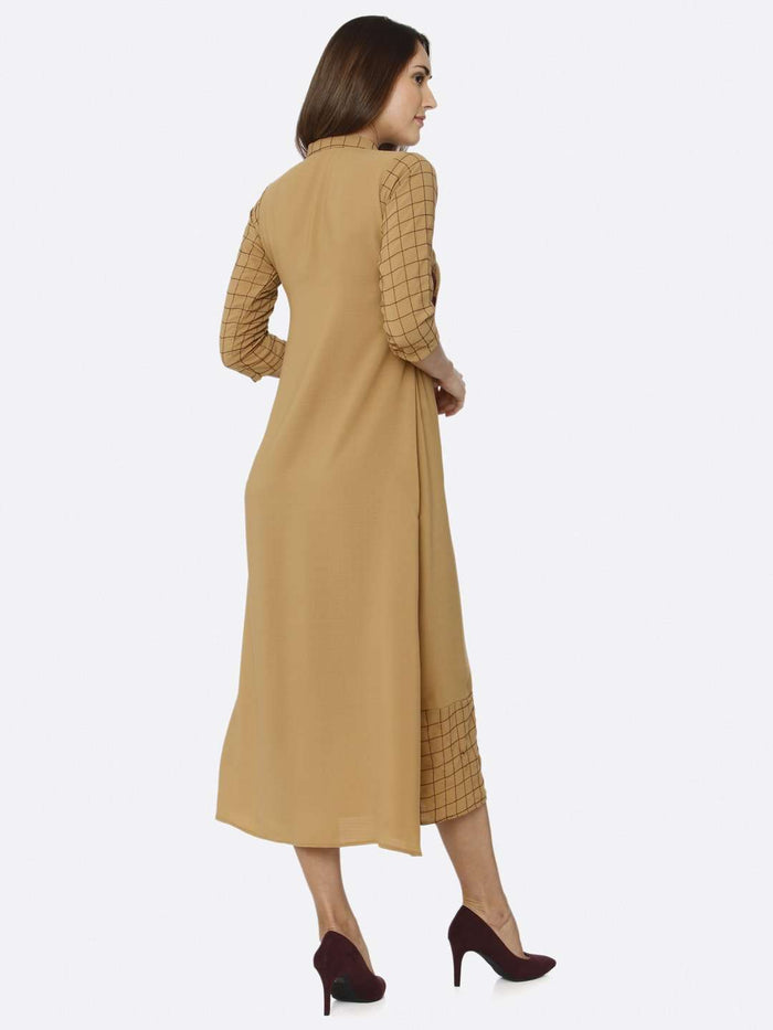Back Side Mustard Embroidered Liquid Georgette A-Line Dress