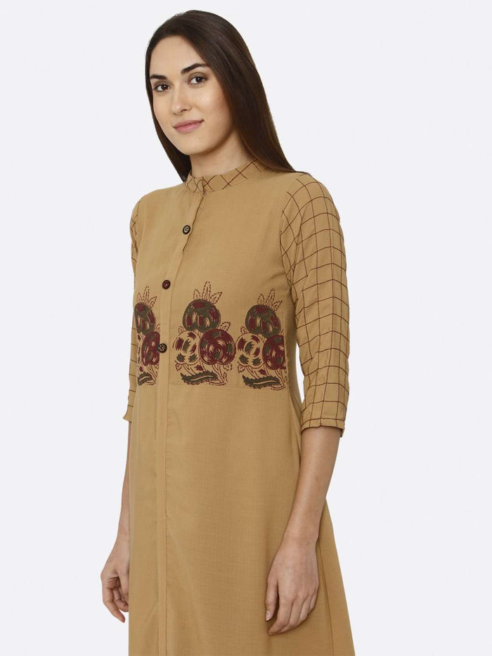 Left Side Embroidered Liquid Georgette A-Line Dress With Mustard Color