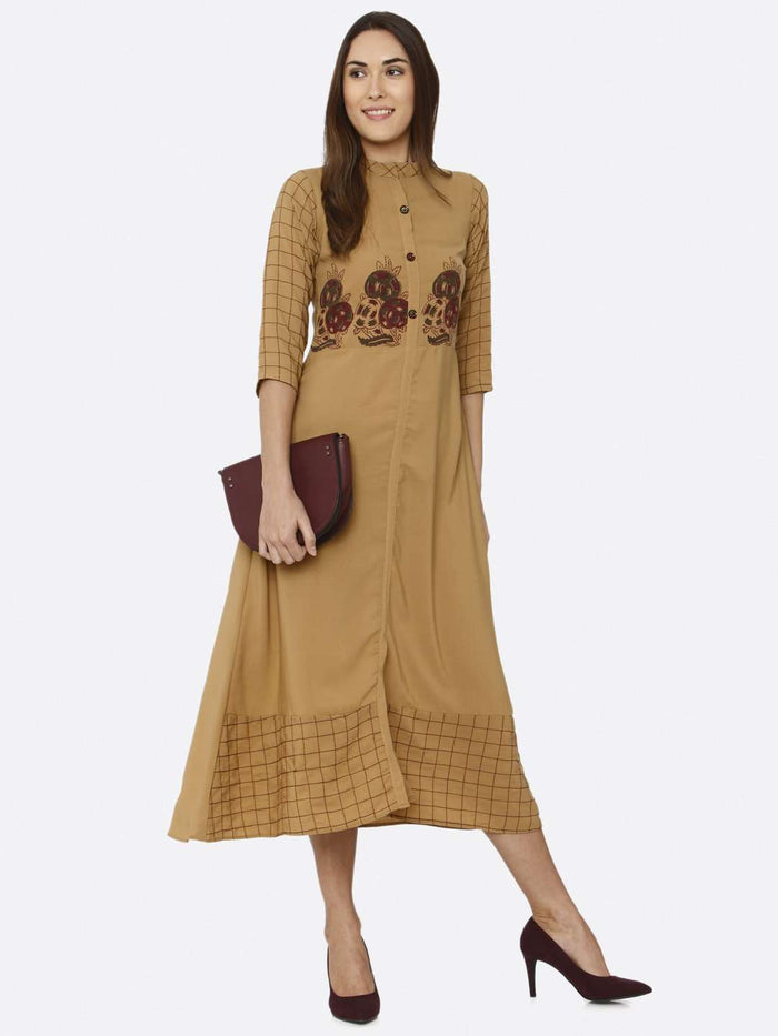Casual Mustard Embroidered Liquid Georgette A-Line Dress