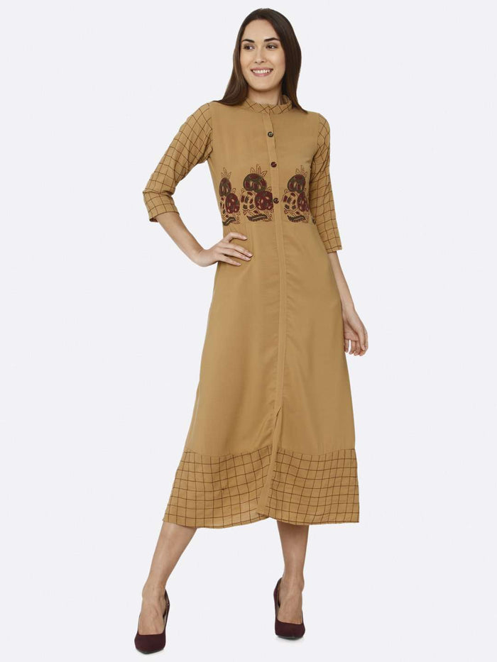 Front Mustard Embroidered Liquid Georgette A-Line Dress