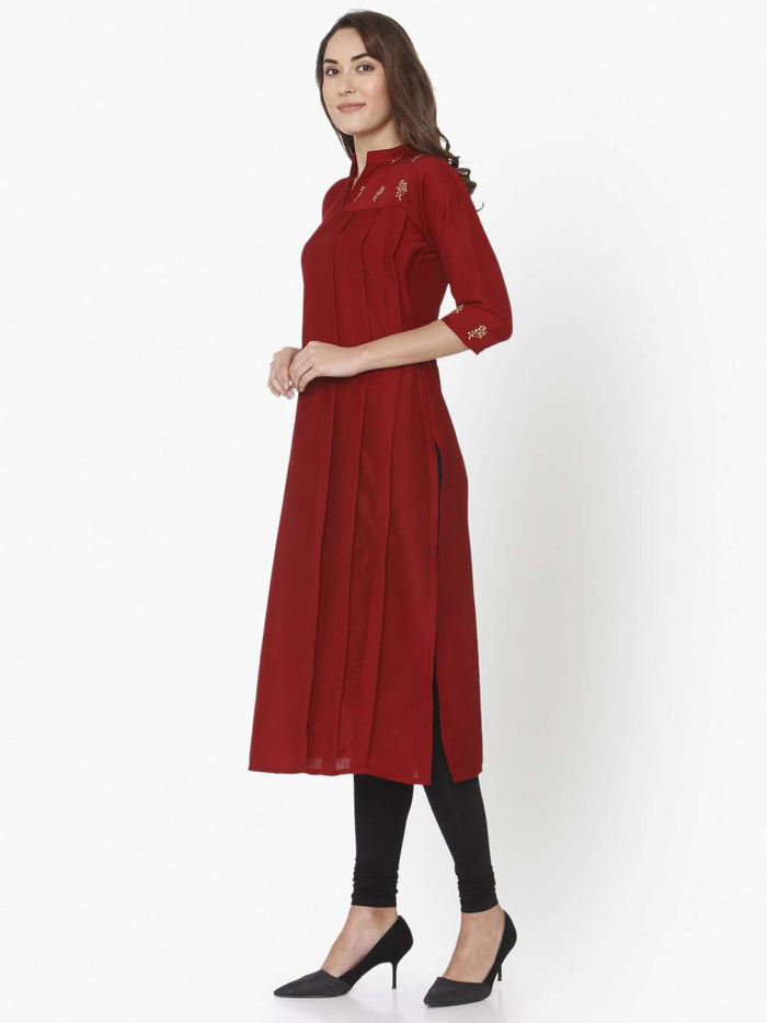 Left Side Red Solid Liva Straight Kurti With Black Palazzo Pant