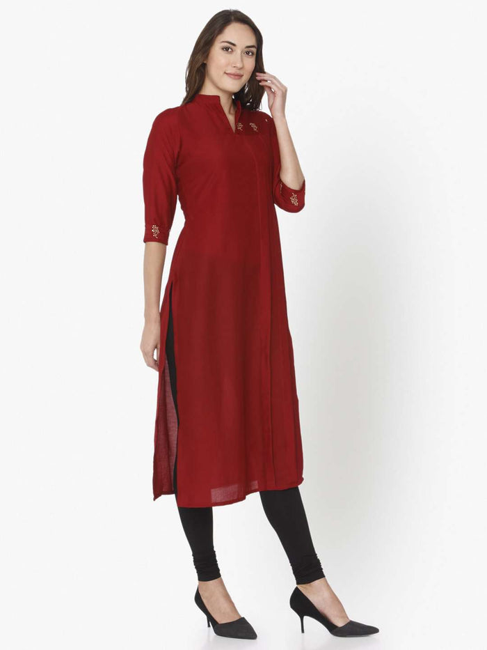 Right Side Red Solid Liva Straight Kurti With Black Palazzo Pant