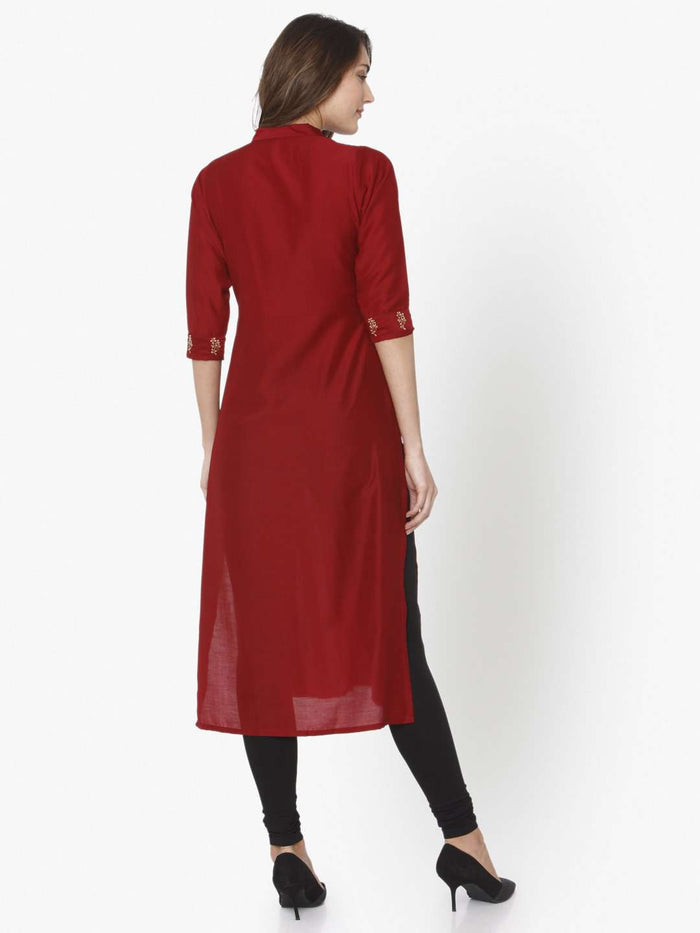 Back Side Red Solid Liva Straight Kurti With Black Palazzo Pant