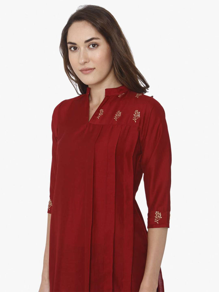 Front Side Red Solid Liva Straight Kurti