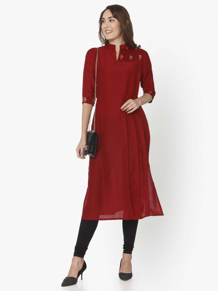 Full Front Side Casual Red Solid Liva Straight Kurti With White Palazzo Pant