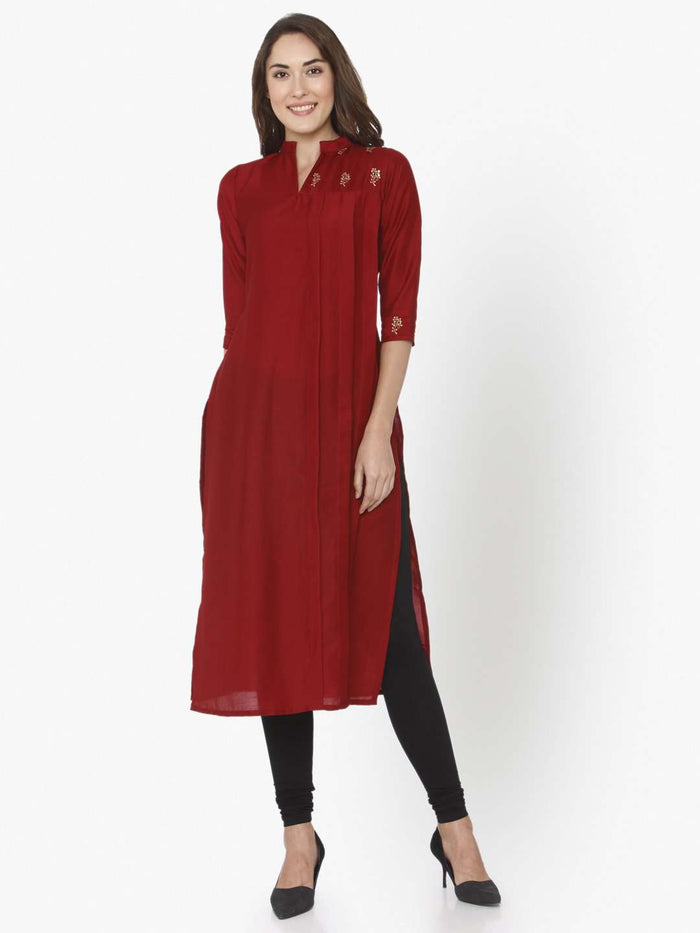 Full Front Side Red Solid Liva Straight Kurti With Black Palazzo Pant