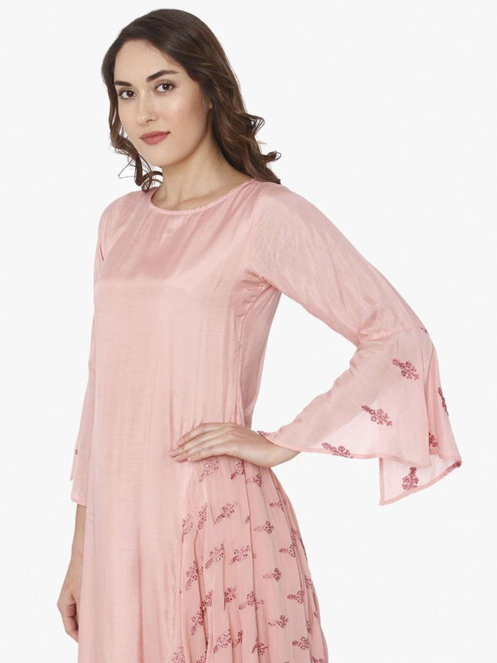 Left Side Printed Tussar Silk A-Line Dress With Pink Color