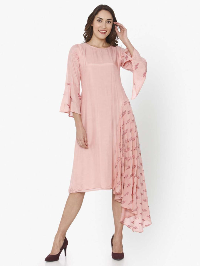Pink Printed Tussar Silk A-Line Dress