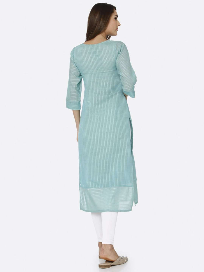 Back Side Turquoise Solid Liva Straight Kurti With White Palazzo Pant