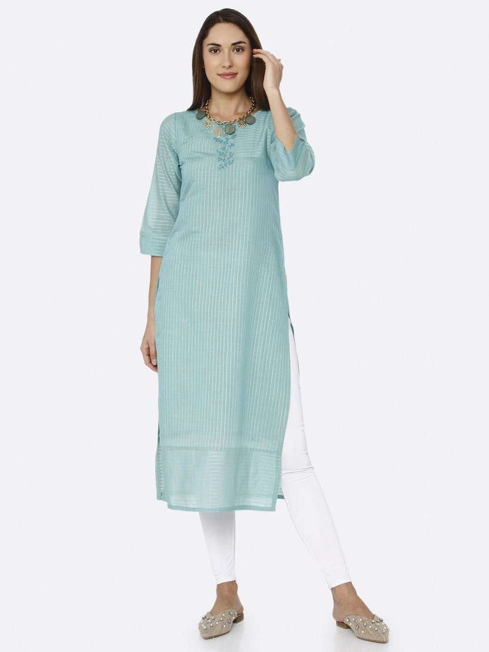 Front Side Turquoise Solid Liva Straight Kurti With White Palazzo Pant