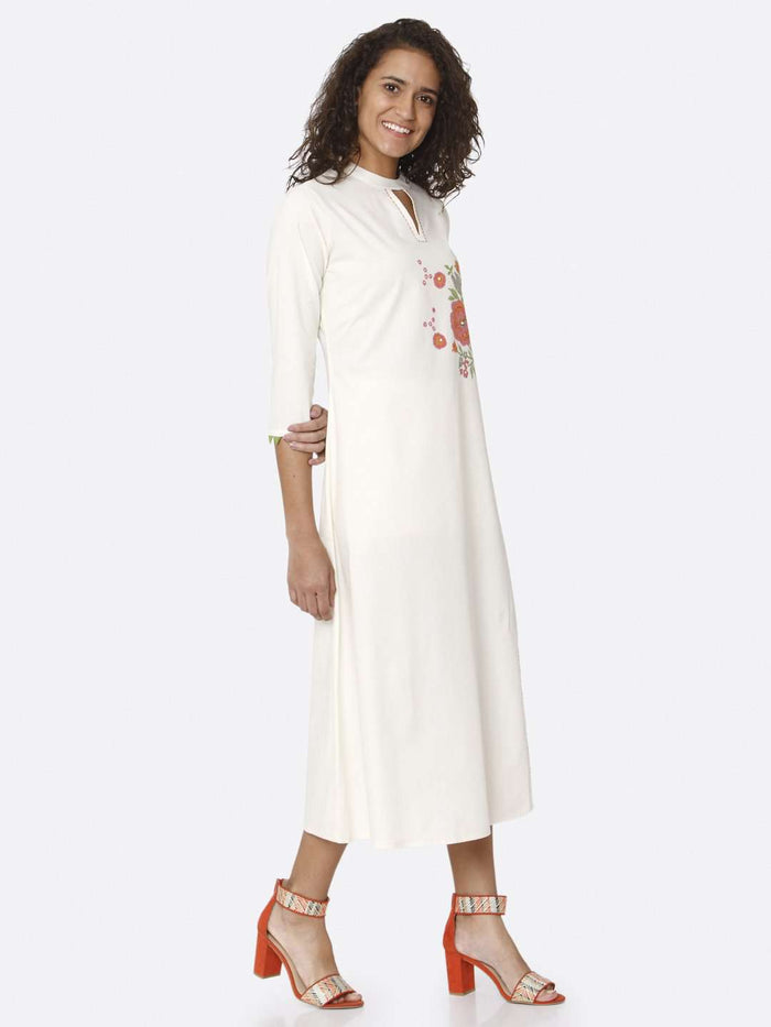 Right Side White Printed Cotton A-Line Dress