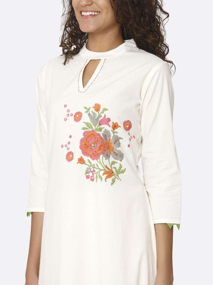 Left Side Printed Cotton A-Line Dress With White Color